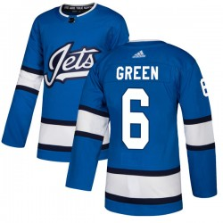 Ted Green Winnipeg Jets Men's Adidas Authentic Blue Alternate Jersey