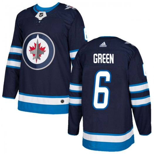 Ted Green Winnipeg Jets Men's Adidas Authentic Green Navy Home Jersey