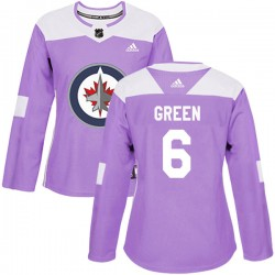 Ted Green Winnipeg Jets Women's Adidas Authentic Purple Fights Cancer Practice Jersey