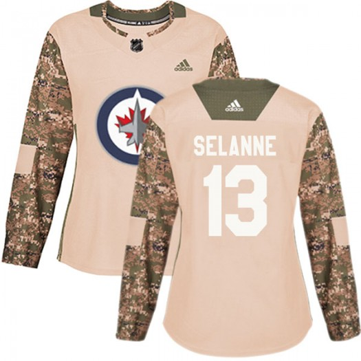 Teemu Selanne Winnipeg Jets Women's Adidas Authentic Camo Veterans Day Practice Jersey