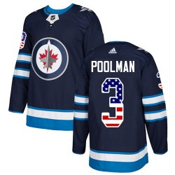 Tucker Poolman Winnipeg Jets Youth Adidas Authentic Navy Blue USA Flag Fashion Jersey