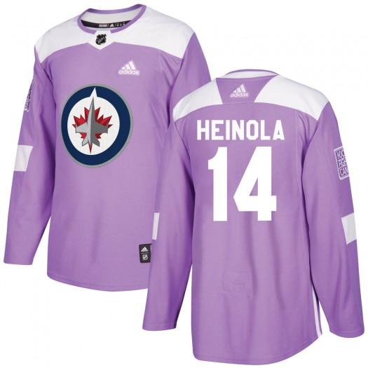 Ville Heinola Winnipeg Jets Men's Adidas Authentic Purple Fights Cancer Practice Jersey