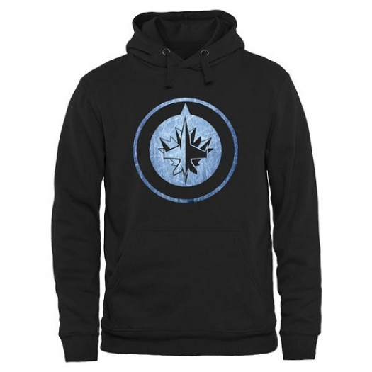 Winnipeg Jets Men's Black Rinkside Pond Hockey Pullover Hoodie