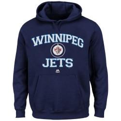 Winnipeg Jets Men's Majestic Navy Blue Heart & Soul Hoodie