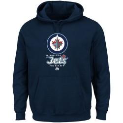 Winnipeg Jets Men's Majestic Navy Critical Victory VIII Fleece Hoodie