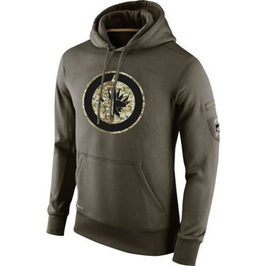Winnipeg Jets Men's Nike Olive Salute To Service KO Performance Hoodie