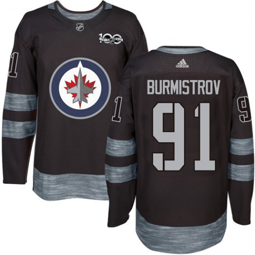 Alexander Burmistrov Winnipeg Jets Men's Adidas Authentic Black 1917-2017 100th Anniversary Jersey