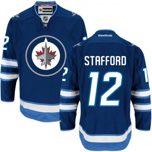 Drew Stafford Winnipeg Jets Men's Reebok Authentic Navy Blue Home Jersey