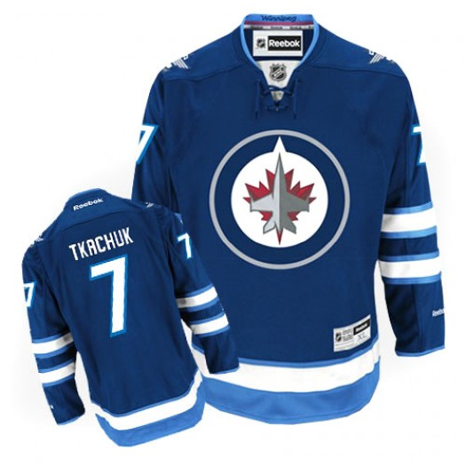 Keith Tkachuk Winnipeg Jets Men's Reebok Authentic Navy Blue Home Jersey