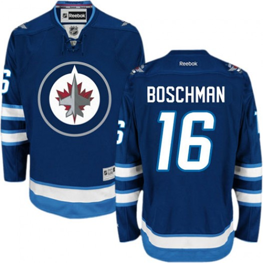 Laurie Boschman Winnipeg Jets Men's Reebok Authentic Navy Blue Home Jersey