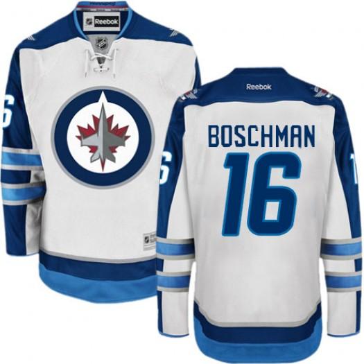Laurie Boschman Winnipeg Jets Men's Reebok Authentic White Away Jersey