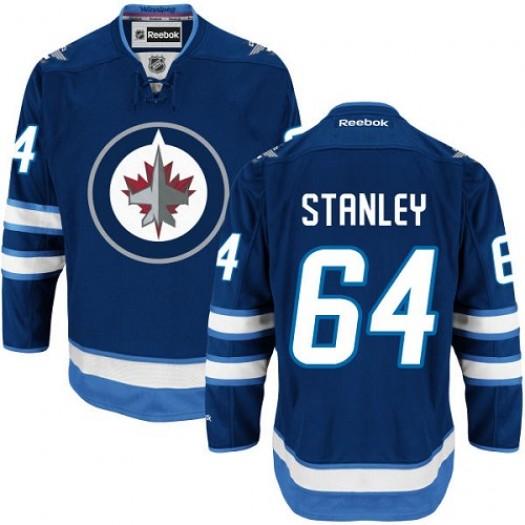 Logan Stanley Winnipeg Jets Men's Reebok Premier Navy Blue Home Jersey