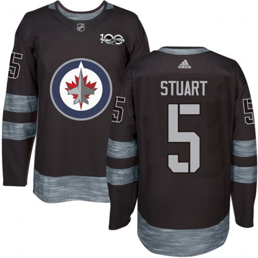 Mark Stuart Winnipeg Jets Men's Adidas Authentic Black 1917-2017 100th Anniversary Jersey