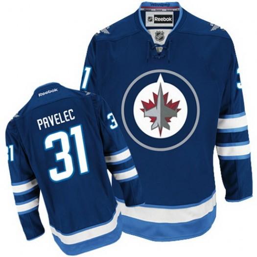 Ondrej Pavelec Winnipeg Jets Men's Reebok Premier Navy Blue Home Jersey