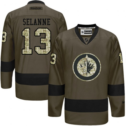 Teemu Selanne Winnipeg Jets Men's Reebok Authentic Green Salute to Service Jersey
