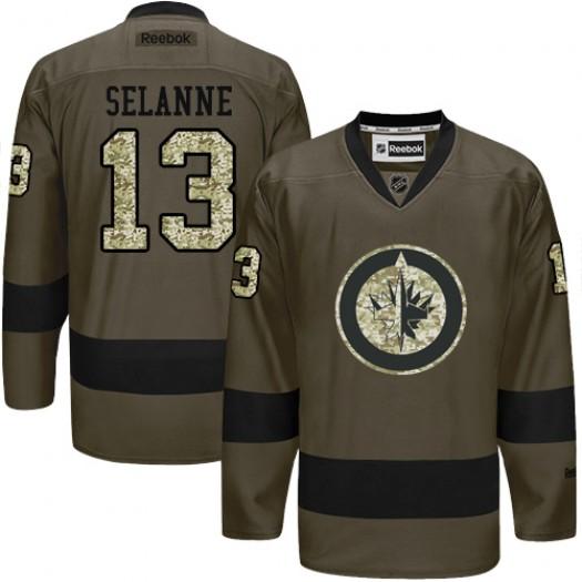 Teemu Selanne Winnipeg Jets Men's Reebok Premier Green Salute to Service Jersey