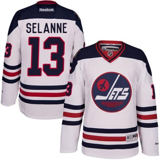 Teemu Selanne Winnipeg Jets Men's Reebok Premier White 2016 Heritage Classic Jersey