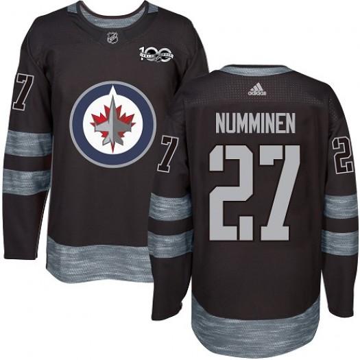 Teppo Numminen Winnipeg Jets Men's Adidas Authentic Black 1917-2017 100th Anniversary Jersey