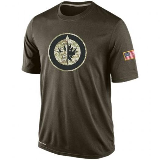 Winnipeg Jets Men's Nike Olive Salute To Service KO Performance Dri-FIT T-Shirt