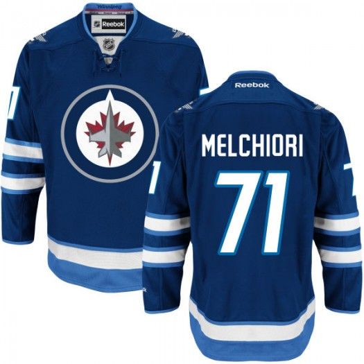 Julian Melchiori Winnipeg Jets Men's Reebok Replica Navy Blue Home Jersey