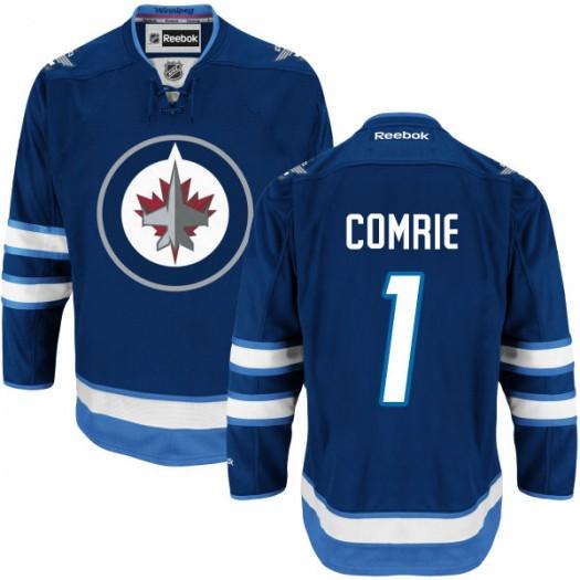 Eric Comrie Winnipeg Jets Men's Reebok Premier Navy Blue Home Jersey
