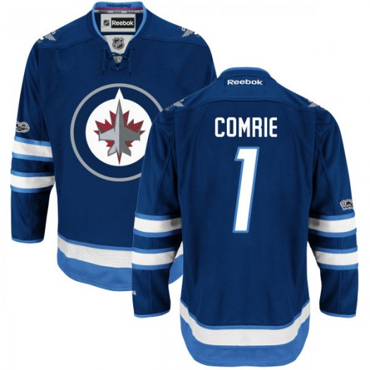 Eric Comrie Winnipeg Jets Men's Reebok Premier Navy Home Centennial Patch Jersey