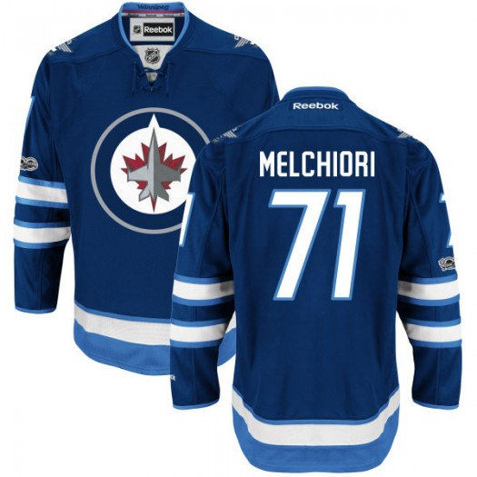 Julian Melchiori Winnipeg Jets Men's Reebok Authentic Navy Home Centennial Patch Jersey