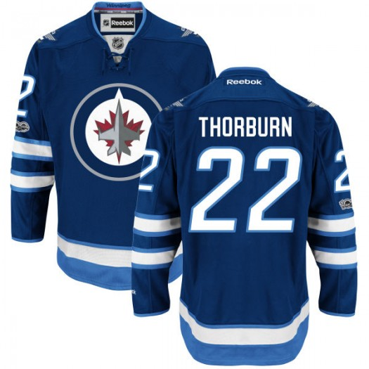 Chris Thorburn Winnipeg Jets Youth Reebok Authentic Navy Home Centennial Patch Jersey