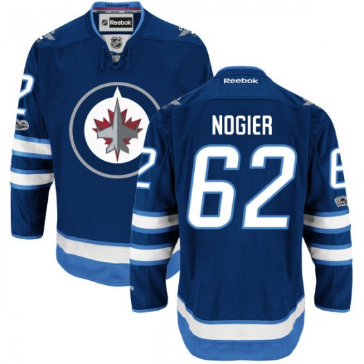 Nelson Nogier Winnipeg Jets Youth Reebok Authentic Navy Home Centennial Patch Jersey