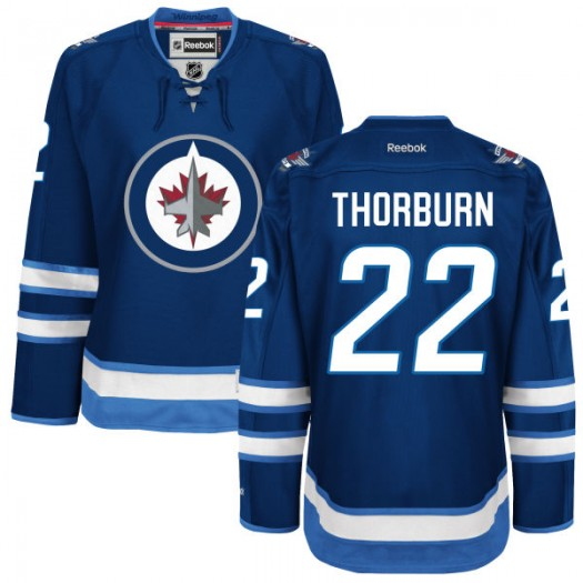 Chris Thorburn Winnipeg Jets Women's Reebok Replica Navy Blue Home Jersey