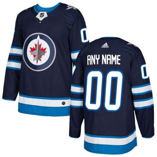 Men's Adidas Winnipeg Jets Customized Premier Navy Blue Home Jersey
