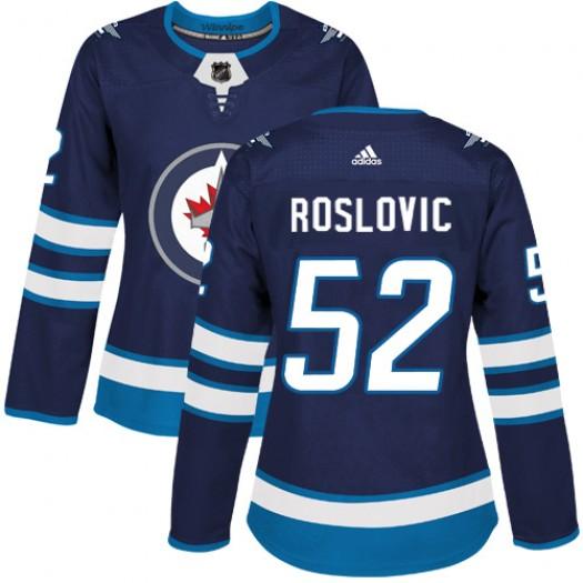 Jack Roslovic Winnipeg Jets Women's Adidas Authentic Navy Blue Home Jersey