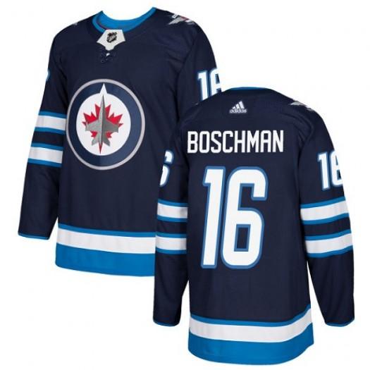 Laurie Boschman Winnipeg Jets Men's Adidas Premier Navy Blue Home Jersey