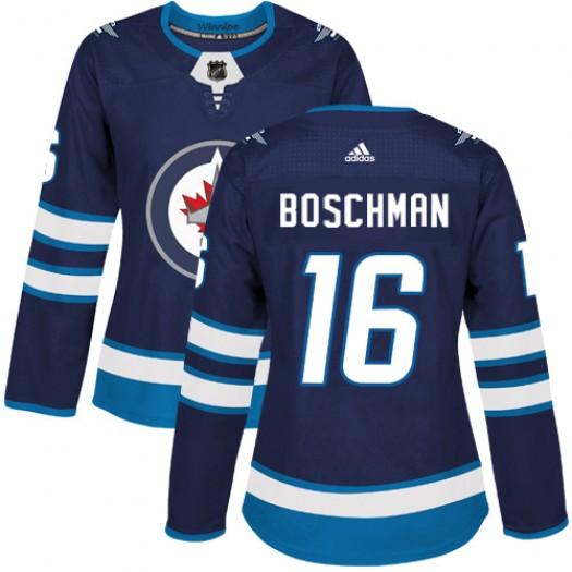 Laurie Boschman Winnipeg Jets Women's Adidas Authentic Navy Blue Home Jersey