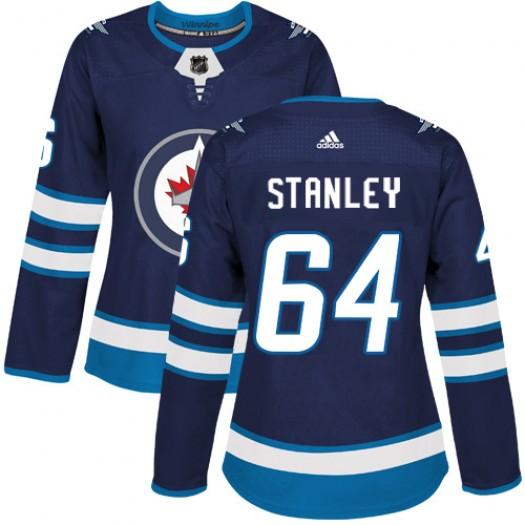 Logan Stanley Winnipeg Jets Women's Adidas Authentic Navy Blue Home Jersey