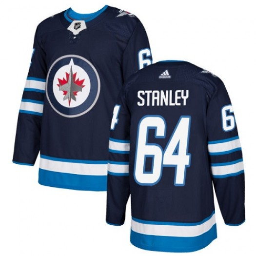 Logan Stanley Winnipeg Jets Youth Adidas Authentic Navy Blue Home Jersey
