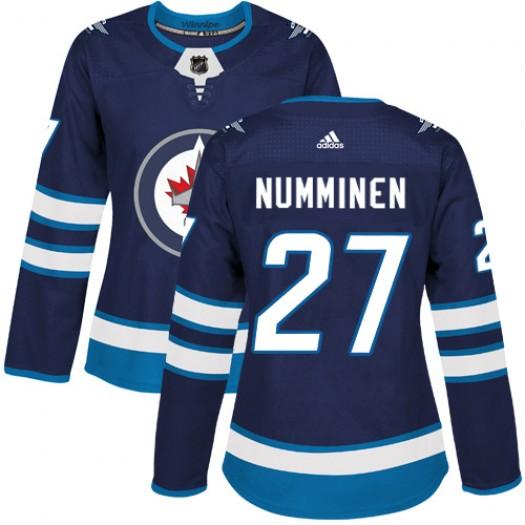Teppo Numminen Winnipeg Jets Women's Adidas Authentic Navy Blue Home Jersey