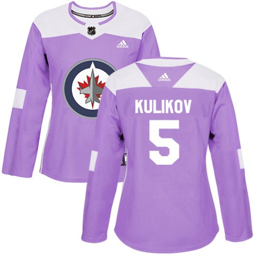 Dmitry Kulikov Winnipeg Jets Women's Adidas Authentic Purple Fights Cancer Practice Jersey