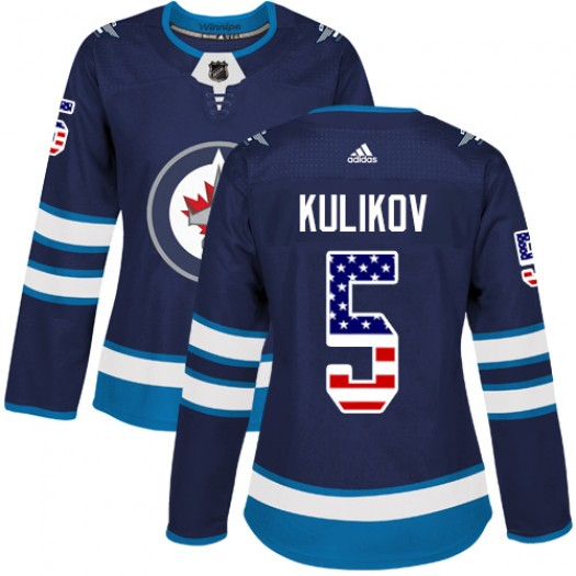 Dmitry Kulikov Winnipeg Jets Women's Adidas Authentic Navy Blue USA Flag Fashion Jersey