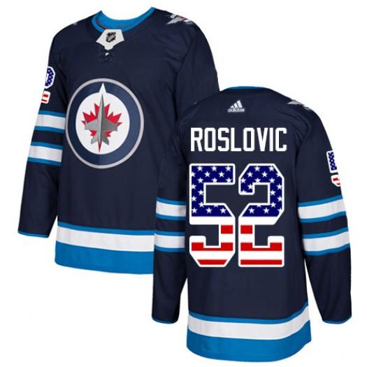 Jack Roslovic Winnipeg Jets Men's Adidas Authentic Navy Blue USA Flag Fashion Jersey