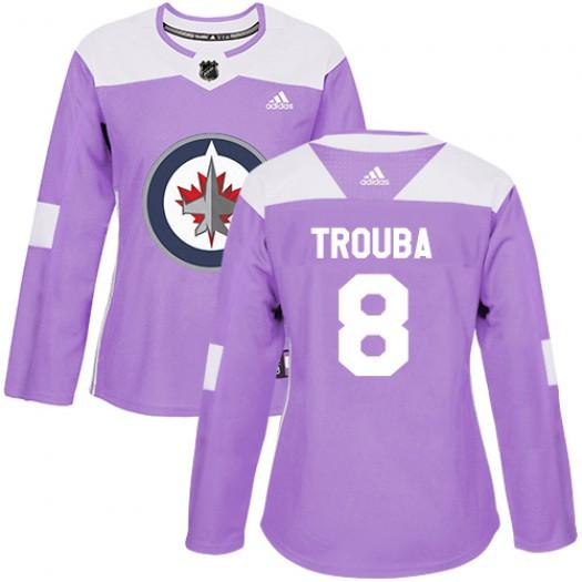 Jacob Trouba Winnipeg Jets Women's Adidas Authentic Purple Fights Cancer Practice Jersey