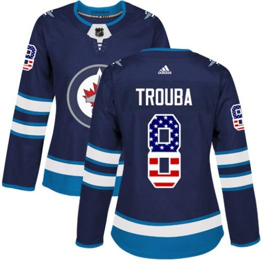 Jacob Trouba Winnipeg Jets Women's Adidas Authentic Navy Blue USA Flag Fashion Jersey