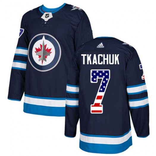 Keith Tkachuk Winnipeg Jets Men's Adidas Authentic Navy Blue USA Flag Fashion Jersey