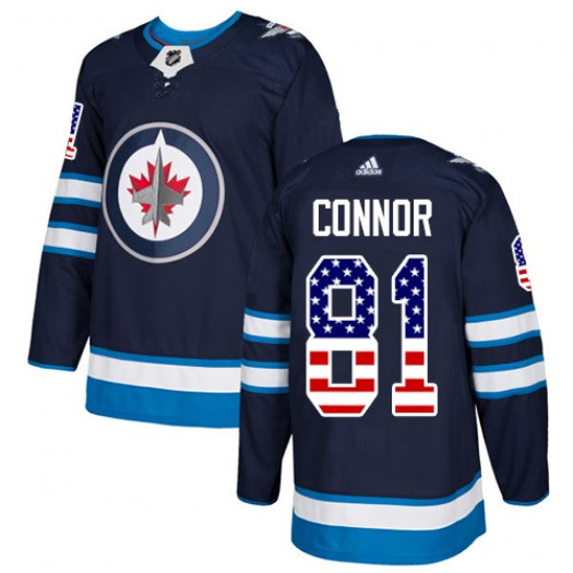 Kyle Connor Winnipeg Jets Men's Adidas Authentic Navy Blue USA Flag Fashion Jersey