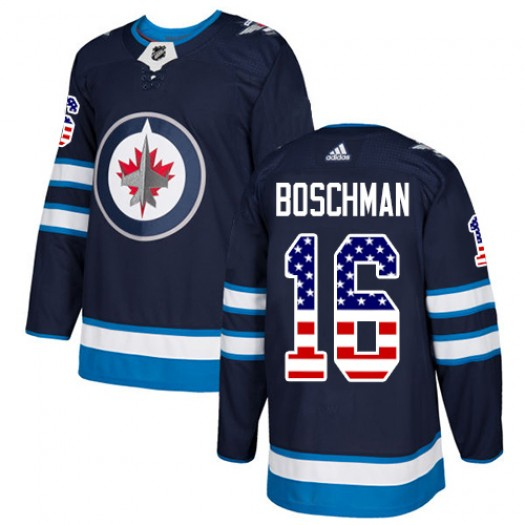 Laurie Boschman Winnipeg Jets Men's Adidas Authentic Navy Blue USA Flag Fashion Jersey