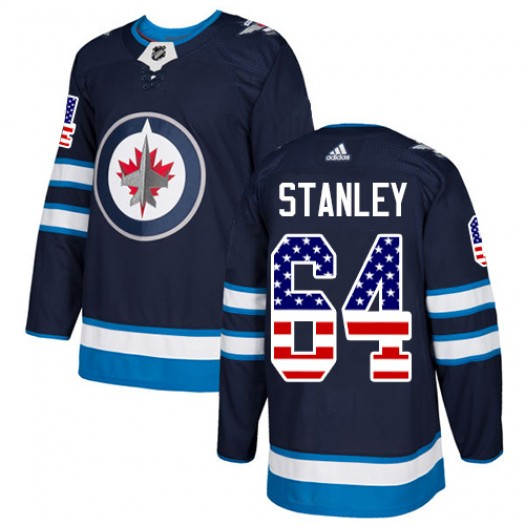 Logan Stanley Winnipeg Jets Men's Adidas Authentic Navy Blue USA Flag Fashion Jersey
