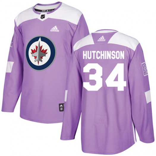 Michael Hutchinson Winnipeg Jets Men's Adidas Authentic Purple Fights Cancer Practice Jersey