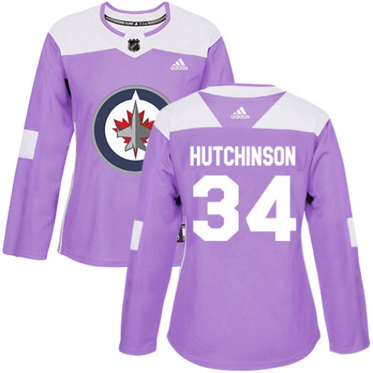 Michael Hutchinson Winnipeg Jets Women's Adidas Authentic Purple Fights Cancer Practice Jersey