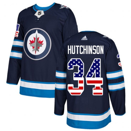 Michael Hutchinson Winnipeg Jets Men's Adidas Authentic Navy Blue USA Flag Fashion Jersey