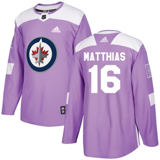 Shawn Matthias Winnipeg Jets Youth Adidas Authentic Purple Fights Cancer Practice Jersey
